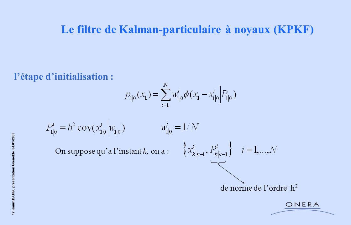 17 Karim DAHIA présentation Grenoble 04/01/2005 létape dinitialisation : On suppose qua linstant k, on a : de norme de lordre h 2 Le filtre de Kalman-