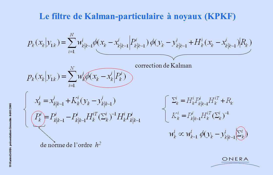 19 Karim DAHIA présentation Grenoble 04/01/2005 correction de Kalman Le filtre de Kalman-particulaire à noyaux (KPKF) de norme de lordre h 2