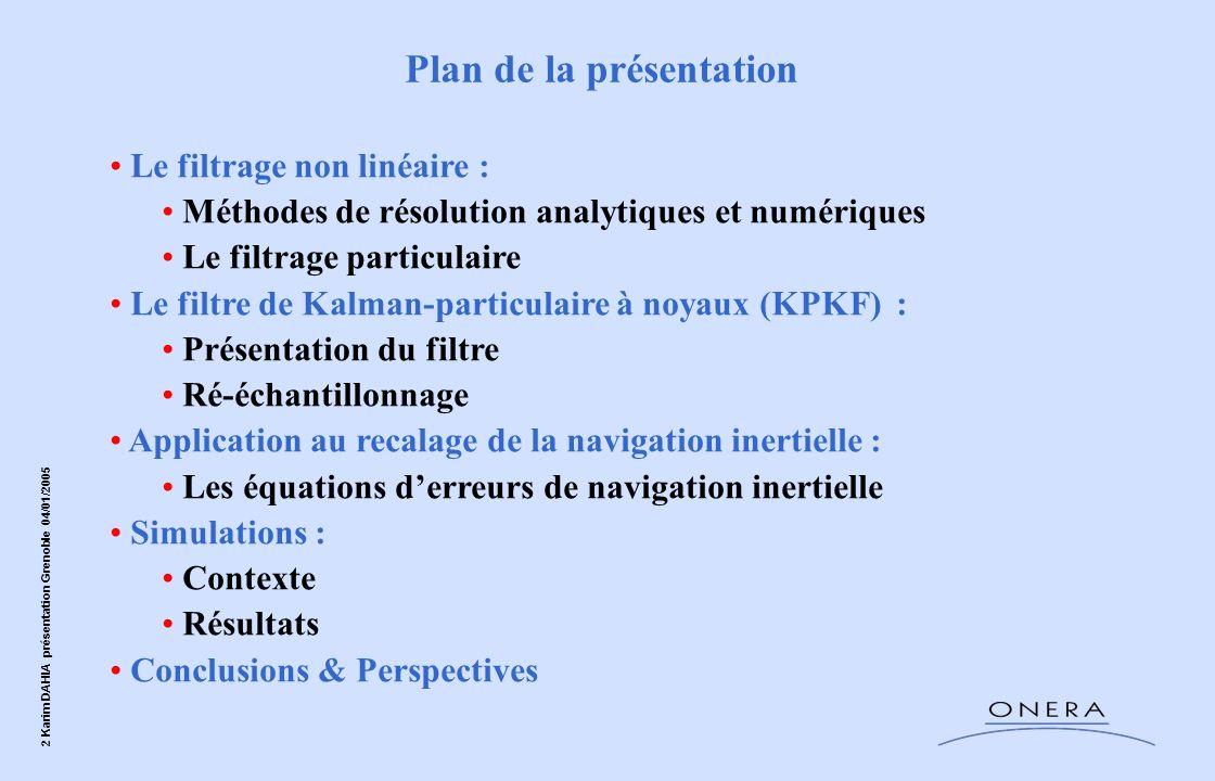 2 Karim DAHIA présentation Grenoble 04/01/2005 Le filtrage non linéaire : Méthodes de résolution analytiques et numériques Le filtrage particulaire Le