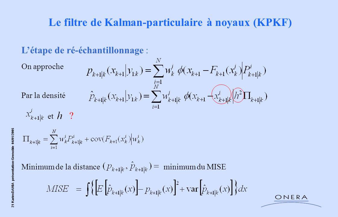 21 Karim DAHIA présentation Grenoble 04/01/2005 On approche Par la densité et Minimum de la distance minimum du MISE Létape de ré-échantillonnage : Le