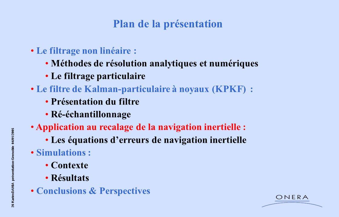 26 Karim DAHIA présentation Grenoble 04/01/2005 Le filtrage non linéaire : Méthodes de résolution analytiques et numériques Le filtrage particulaire L