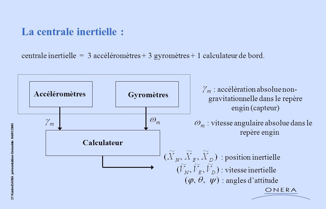 27 Karim DAHIA présentation Grenoble 04/01/2005 : accélération absolue non- gravitationnelle dans le repère engin (capteur) La centrale inertielle : c