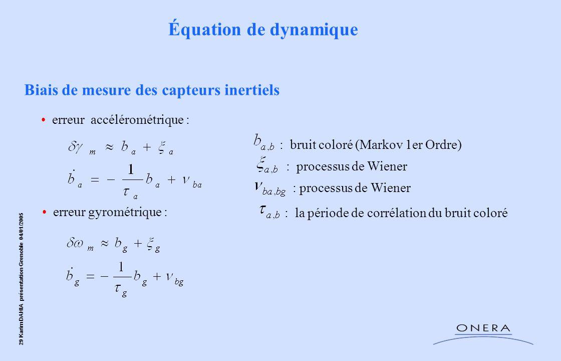 29 Karim DAHIA présentation Grenoble 04/01/2005 Biais de mesure des capteurs inertiels erreur gyrométrique : erreur accélérométrique : : processus de