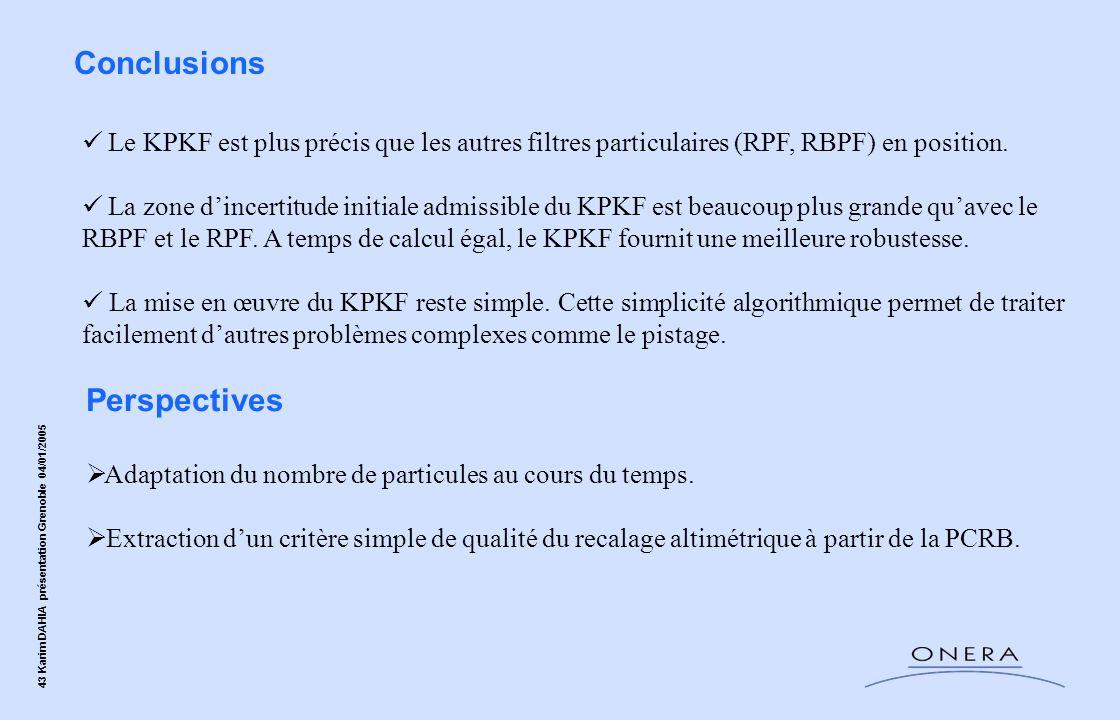 43 Karim DAHIA présentation Grenoble 04/01/2005 Conclusions Le KPKF est plus précis que les autres filtres particulaires (RPF, RBPF) en position. La z