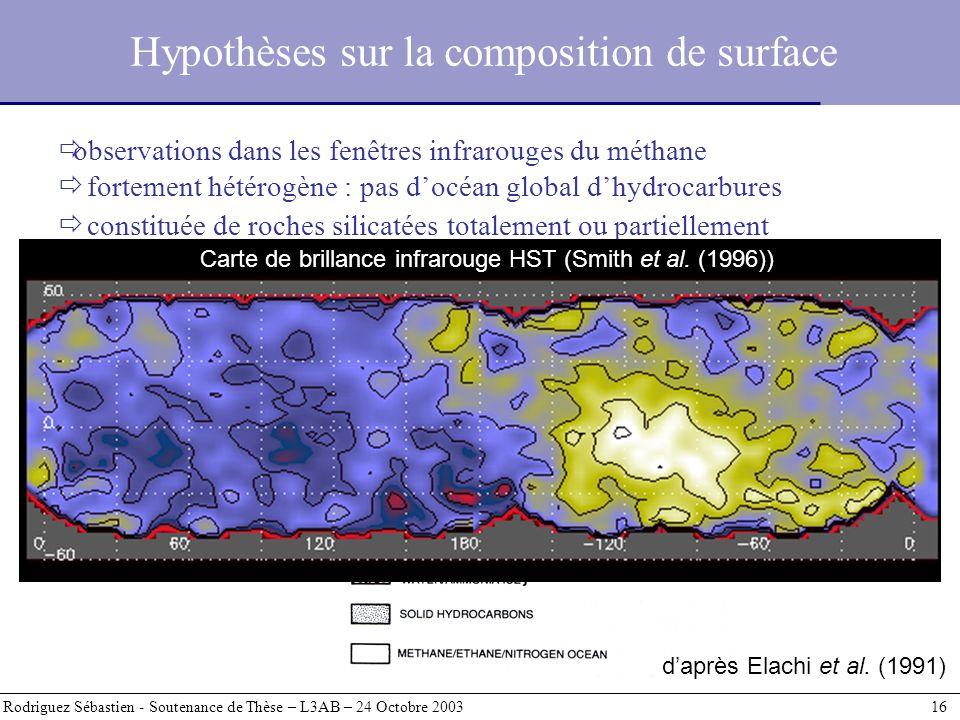 Hypothèses sur la composition de surface Rodriguez Sébastien - Soutenance de Thèse – L3AB – 24 Octobre 2003 16 observations dans les fenêtres infrarou