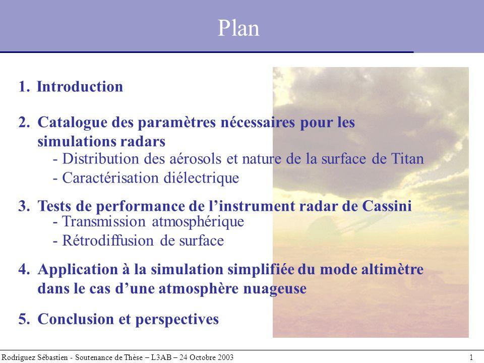 2.Catalogue des paramètres nécessaires pour les simulations radars Plan Rodriguez Sébastien - Soutenance de Thèse – L3AB – 24 Octobre 2003 1 1.Introduction - Distribution des aérosols et nature de la surface de Titan - Caractérisation diélectrique 3.Tests de performance de linstrument radar de Cassini 4.Application à la simulation simplifiée du mode altimètre dans le cas dune atmosphère nuageuse 5.
