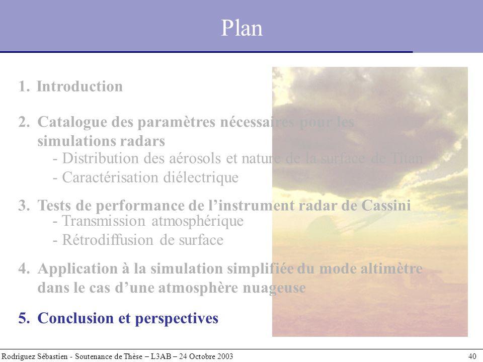 Plan Rodriguez Sébastien - Soutenance de Thèse – L3AB – 24 Octobre 2003 40 1.Introduction - Distribution des aérosols et nature de la surface de Titan