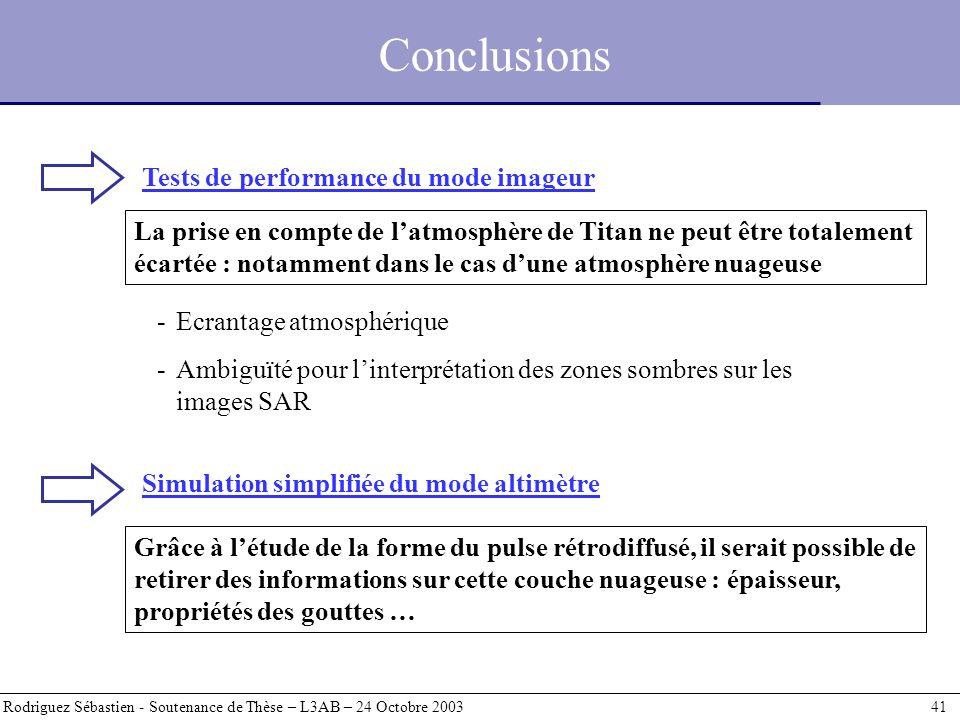 Conclusions Rodriguez Sébastien - Soutenance de Thèse – L3AB – 24 Octobre 2003 41 La prise en compte de latmosphère de Titan ne peut être totalement é