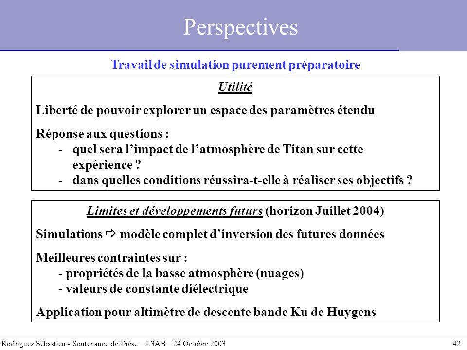 Perspectives Rodriguez Sébastien - Soutenance de Thèse – L3AB – 24 Octobre 2003 42 Travail de simulation purement préparatoire Utilité Liberté de pouv