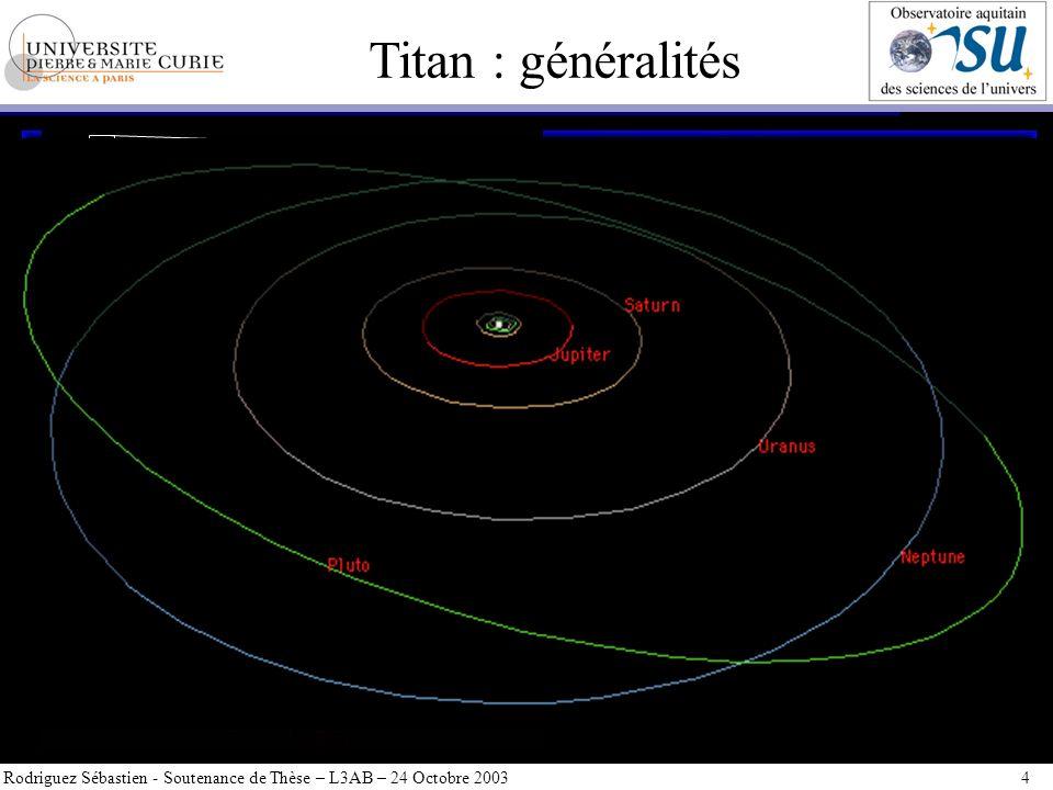 Titan : généralités Rodriguez Sébastien - Soutenance de Thèse – L3AB – 24 Octobre 2003 4 31 satellites connus de forme, taille et composition dune ext