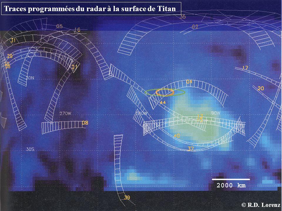 Traces programmées du radar à la surface de Titan © R.D. Lorenz