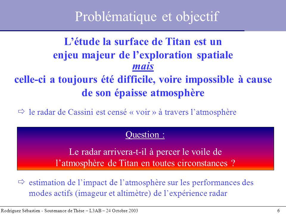 Problématique et objectif Rodriguez Sébastien - Soutenance de Thèse – L3AB – 24 Octobre 2003 6 le radar de Cassini est censé « voir » à travers latmos