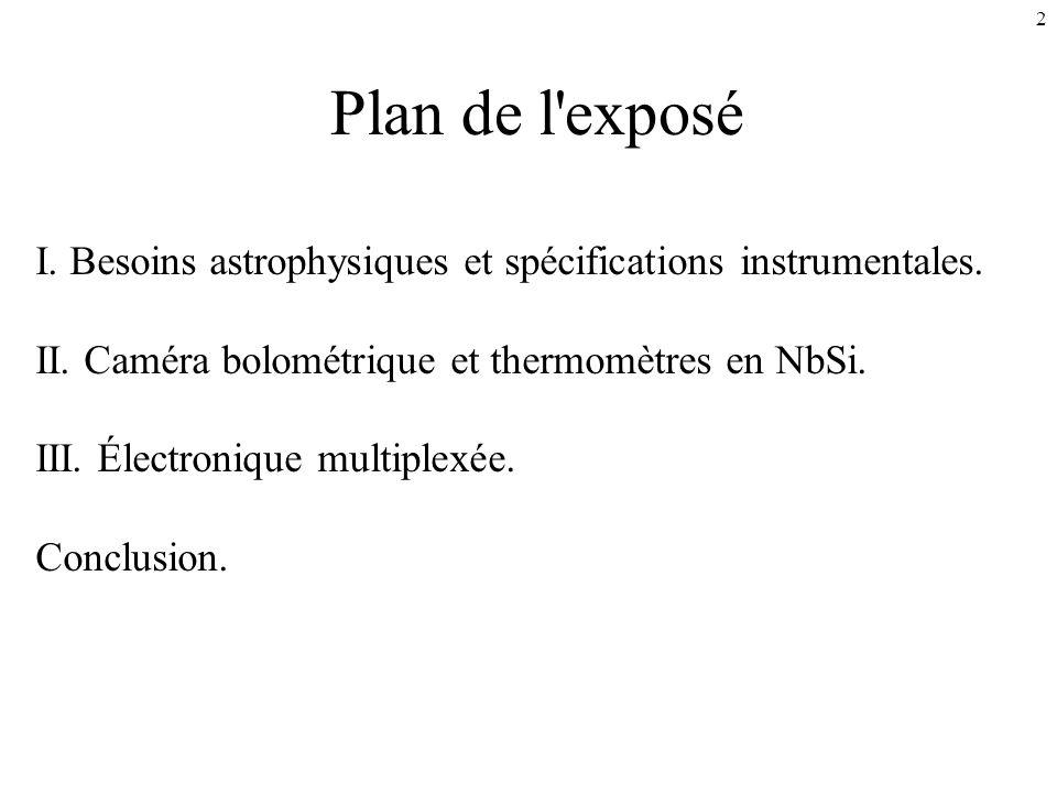 2 Plan de l'exposé I. Besoins astrophysiques et spécifications instrumentales. II. Caméra bolométrique et thermomètres en NbSi. III. Électronique mult