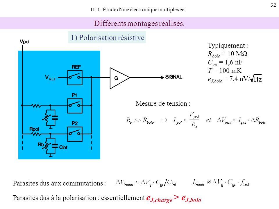 32 III.1. Étude d'une électronique multiplexée Différents montages réalisés. Typiquement : R bolo = 10 M C int = 1,6 nF T = 100 mK e J,bolo = 7,4 nV/