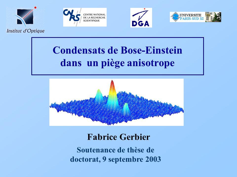 Fonction de corrélation Profil Lorentzien: Attendu pour une fonction de corrélation qui décroît exponentiellement T=8T Quasi exponentiel T=0 Quasi gaussien Fonction de corrélation: distance Distribution en impulsion: Impulsion axiale T=8T Lorentzienne T=0 Quasi-gaussien F.