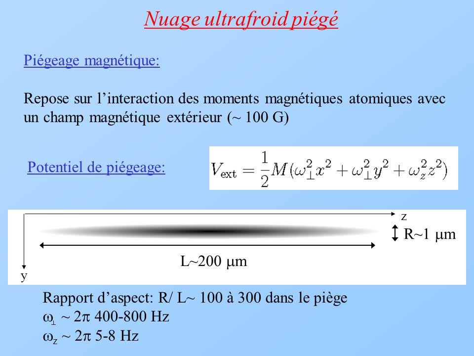 Nuage ultrafroid piégé Potentiel de piégeage: L~200 m R~1 m Piégeage magnétique: Repose sur linteraction des moments magnétiques atomiques avec un cha
