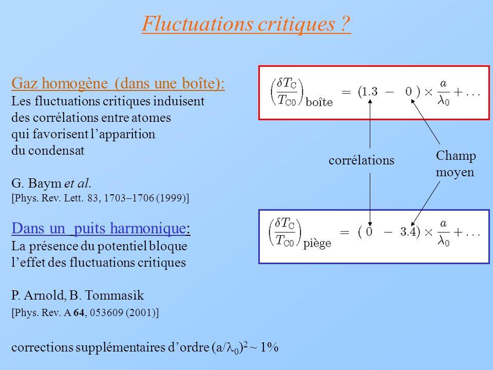 Fluctuations critiques ? Gaz homogène (dans une boîte): Les fluctuations critiques induisent des corrélations entre atomes qui favorisent lapparition