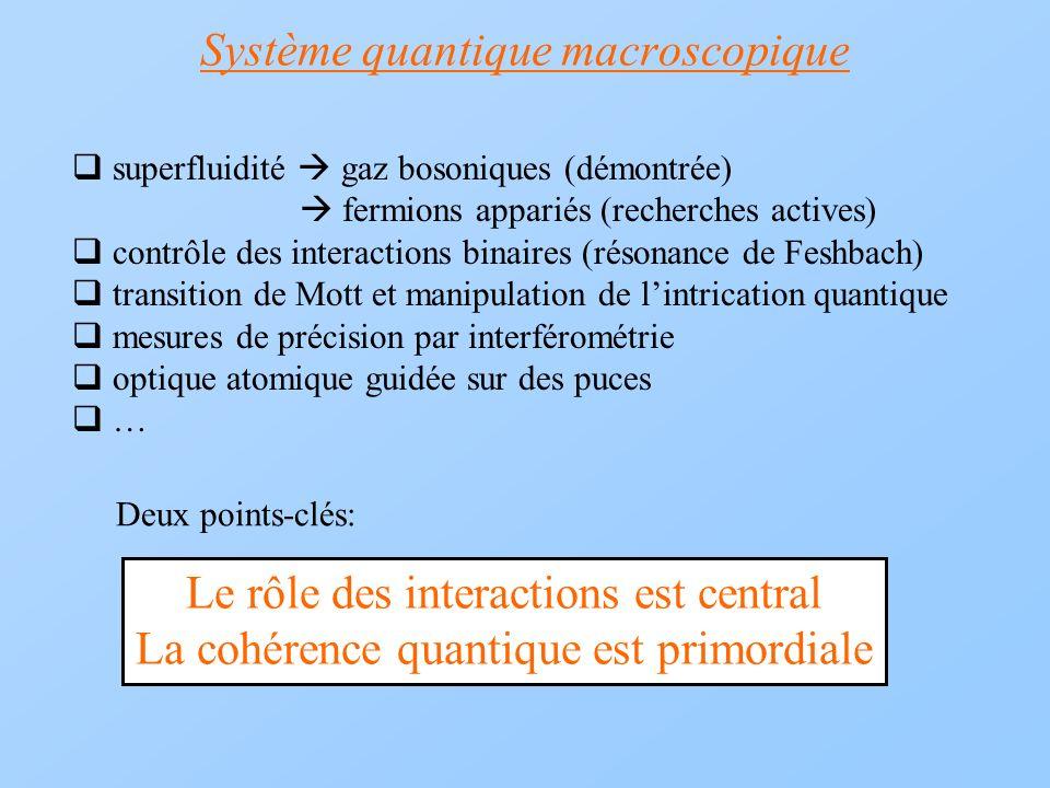 Système quantique macroscopique superfluidité gaz bosoniques (démontrée) fermions appariés (recherches actives) contrôle des interactions binaires (ré