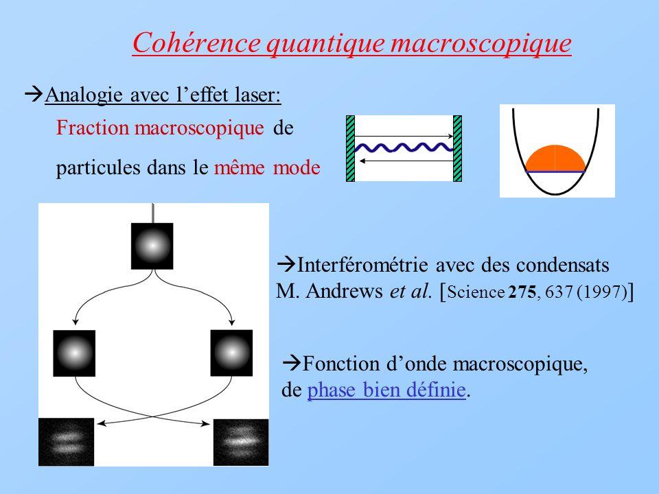 Cohérence quantique macroscopique Fraction macroscopique de particules dans le même mode Analogie avec leffet laser: Interférométrie avec des condensa