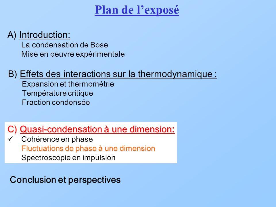 A) Introduction: La condensation de Bose Mise en oeuvre expérimentale B) Effets des interactions sur la thermodynamique : Expansion et thermométrie Te
