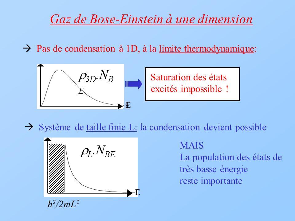 3D.N BE 1D.N B E E Saturation des états excités impossible ! Gaz de Bose-Einstein à une dimension Pas de condensation à 1D, à la limite thermodynamiqu