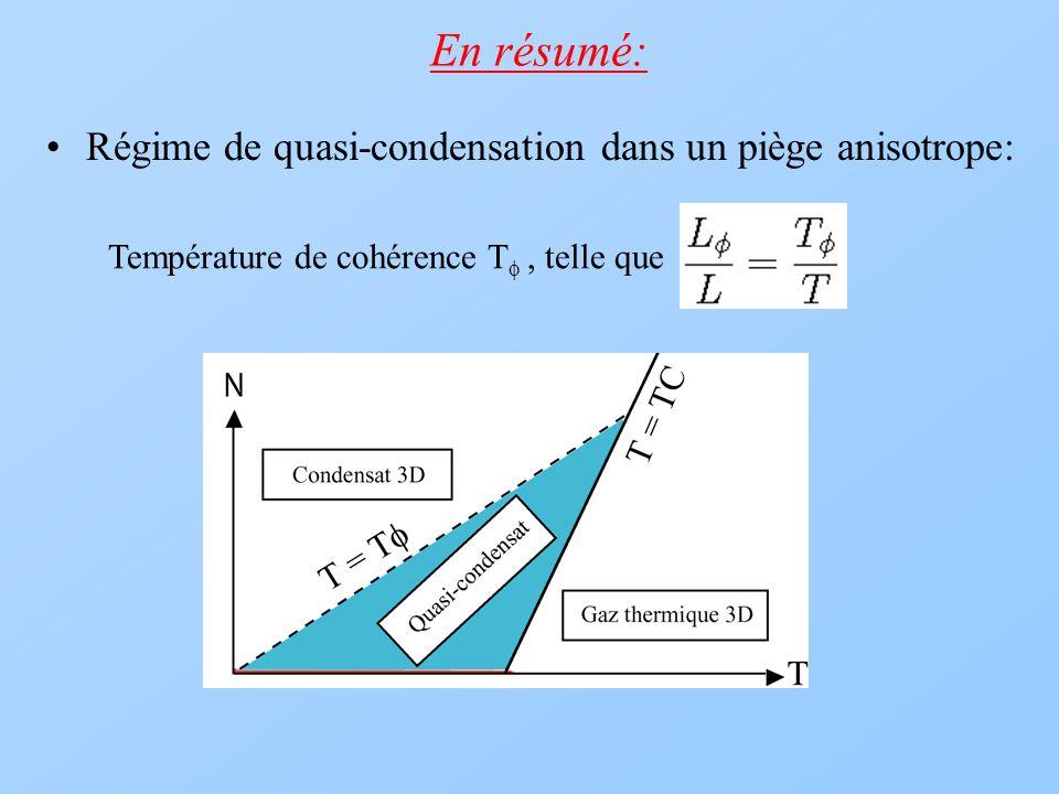 En résumé: Régime de quasi-condensation dans un piège anisotrope: Température de cohérence T telle que