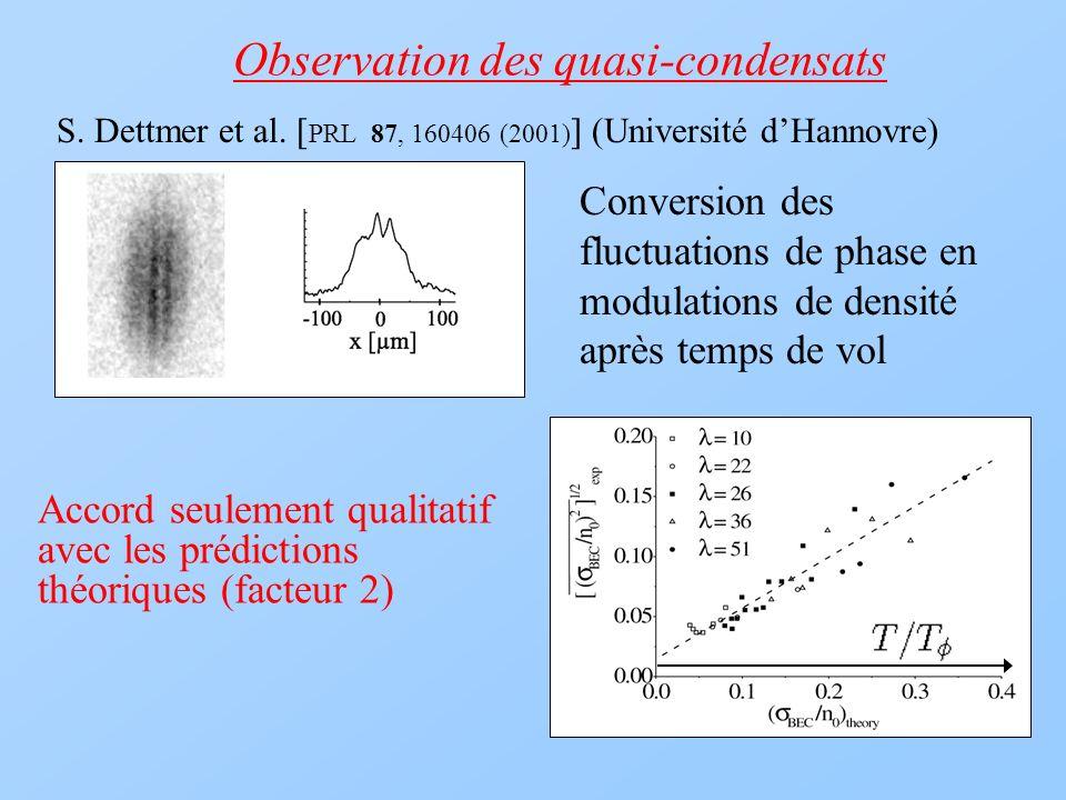 Observation des quasi-condensats S. Dettmer et al. [ PRL 87, 160406 (2001) ] (Université dHannovre) Conversion des fluctuations de phase en modulation