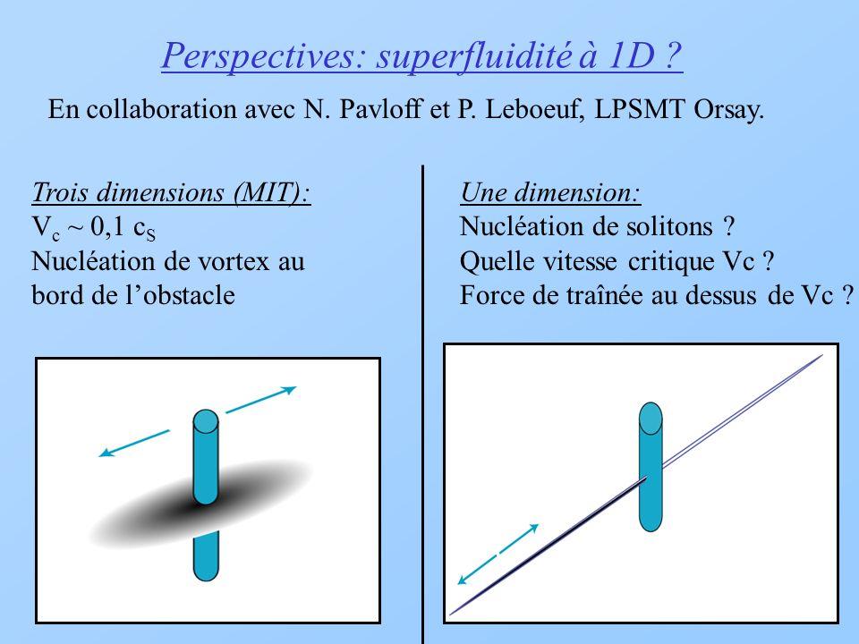 En collaboration avec N. Pavloff et P. Leboeuf, LPSMT Orsay. Trois dimensions (MIT): V c ~ 0,1 c S Nucléation de vortex au bord de lobstacle Une dimen