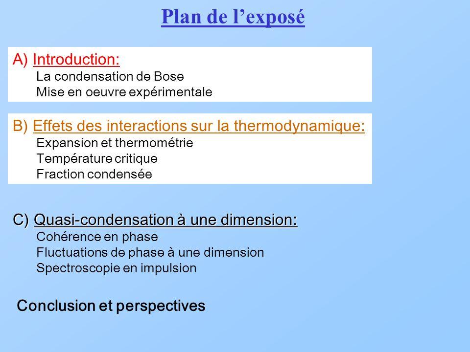 A) Introduction: La condensation de Bose Mise en oeuvre expérimentale B) Effets des interactions sur la thermodynamique : Expansion et thermométrie Température critique Fraction condensée C) Quasi-condensation à une dimension: Cohérence en phase Fluctuations de phase à une dimension Spectroscopie en impulsion Conclusion et perspectives Plan de lexposé