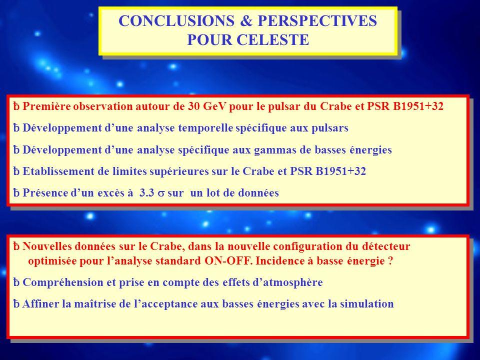 CONCLUSIONS & PERSPECTIVES POUR CELESTE ƀ Première observation autour de 30 GeV pour le pulsar du Crabe et PSR B1951+32 ƀ Développement dune analyse t