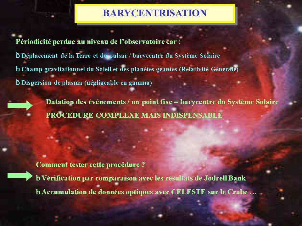 BARYCENTRISATION Périodicité perdue au niveau de lobservatoire car : ƀ Déplacement de la Terre et du pulsar / barycentre du Système Solaire ƀ Champ gr