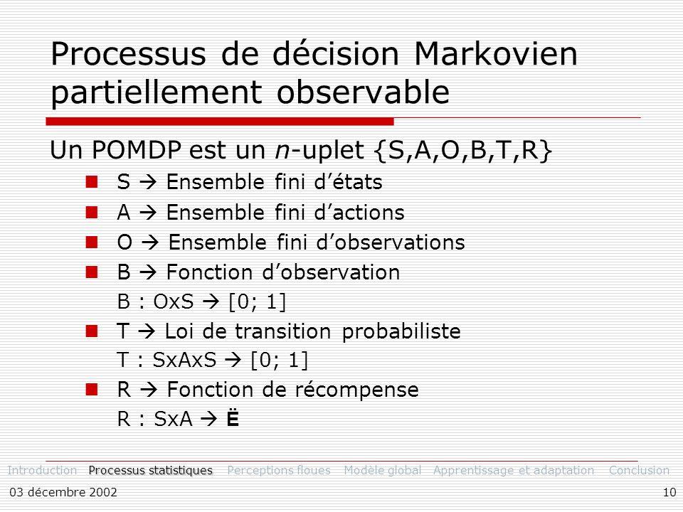 03 décembre 200210 Processus de décision Markovien partiellement observable Un POMDP est un n-uplet {S,A,O,B,T,R} S Ensemble fini détats A Ensemble fini dactions O Ensemble fini dobservations B Fonction dobservation B : OxS [0; 1] T Loi de transition probabiliste T : SxAxS [0; 1] R Fonction de récompense R : SxA Ë Introduction Processus statistiques Perceptions flouesModèle globalApprentissage et adaptationConclusion