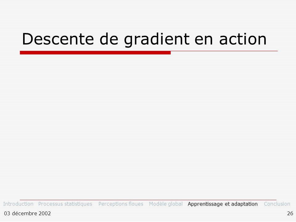 03 décembre 200226 Descente de gradient en action IntroductionProcessus statistiquesPerceptions flouesModèle global Apprentissage et adaptation Conclusion