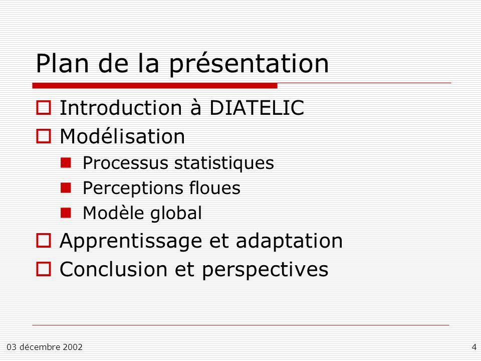 03 décembre 20024 Plan de la présentation Introduction à DIATELIC Modélisation Processus statistiques Perceptions floues Modèle global Apprentissage et adaptation Conclusion et perspectives
