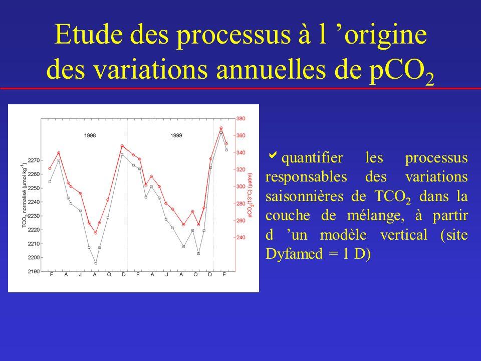 quantifier les processus responsables des variations saisonnières de TCO 2 dans la couche de mélange, à partir d un modèle vertical (site Dyfamed = 1