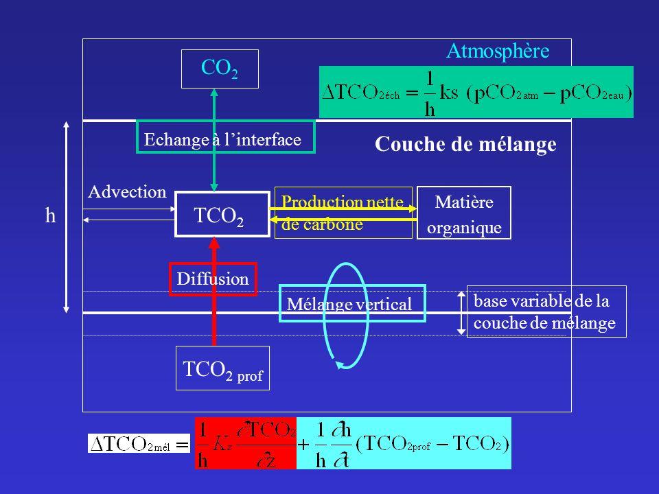 CO 2 Atmosphère Couche de mélange TCO 2 prof TCO 2 Matière organique base variable de la couche de mélange Advection h Echange à linterface Diffusion