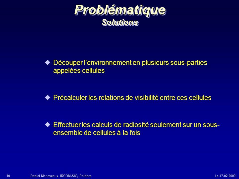 10Daniel Meneveaux IRCOM-SIC, Poitiers Le 17.02.2000 Problématique Solutions uDécouper lenvironnement en plusieurs sous-parties appelées cellules uPré