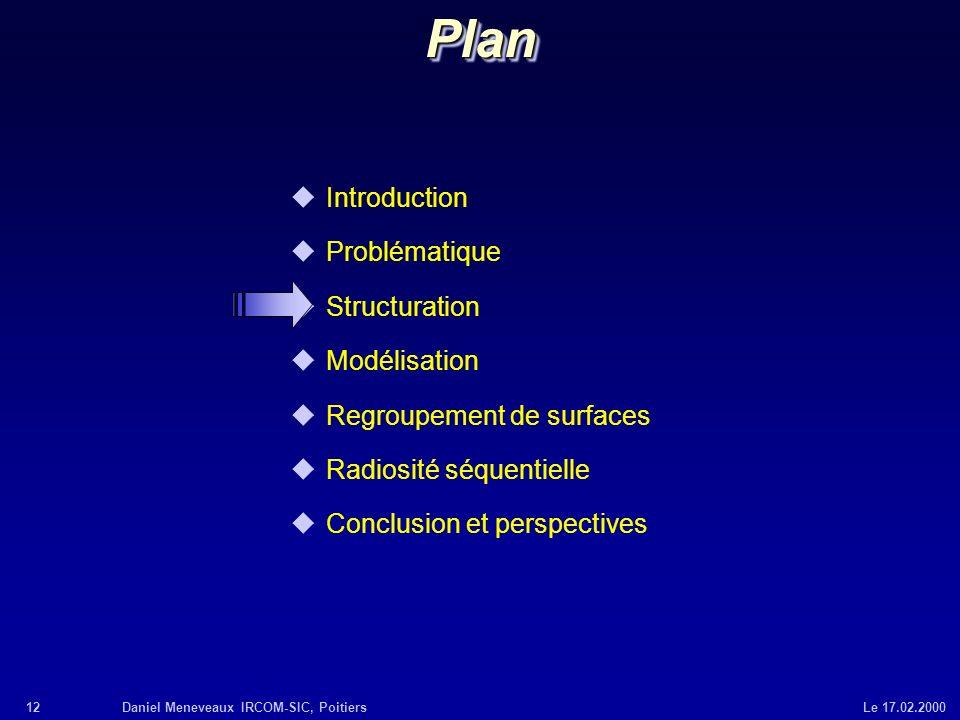 12Daniel Meneveaux IRCOM-SIC, Poitiers Le 17.02.2000 uIntroduction uProblématique uStructuration uModélisation uRegroupement de surfaces uRadiosité sé