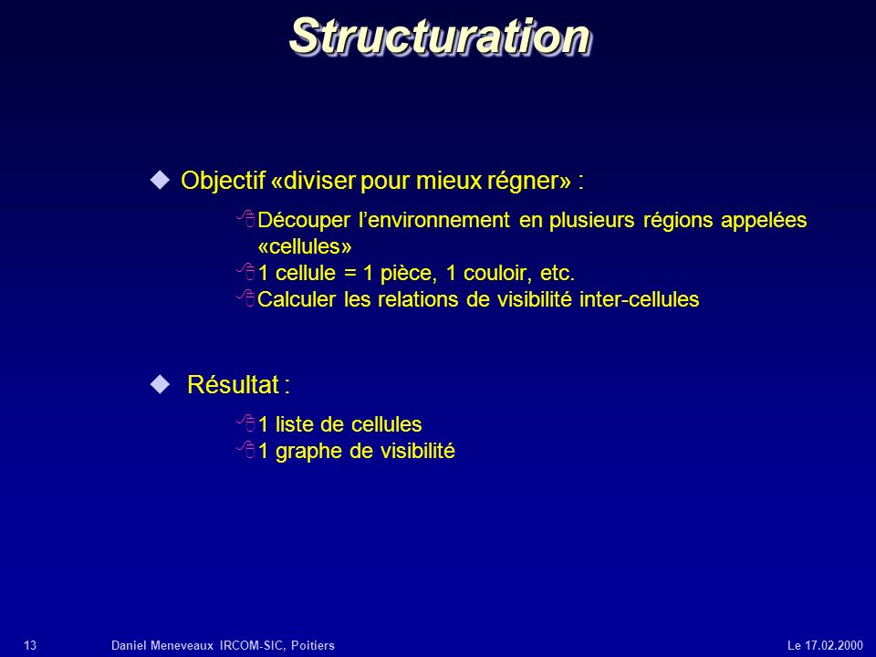 13Daniel Meneveaux IRCOM-SIC, Poitiers Le 17.02.2000StructurationStructuration uObjectif «diviser pour mieux régner» : 8Découper lenvironnement en plu