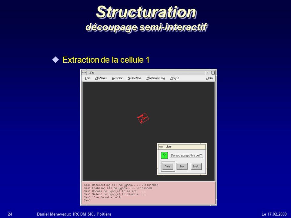 24Daniel Meneveaux IRCOM-SIC, Poitiers Le 17.02.2000 Structuration découpage semi-interactif uExtraction de la cellule 1