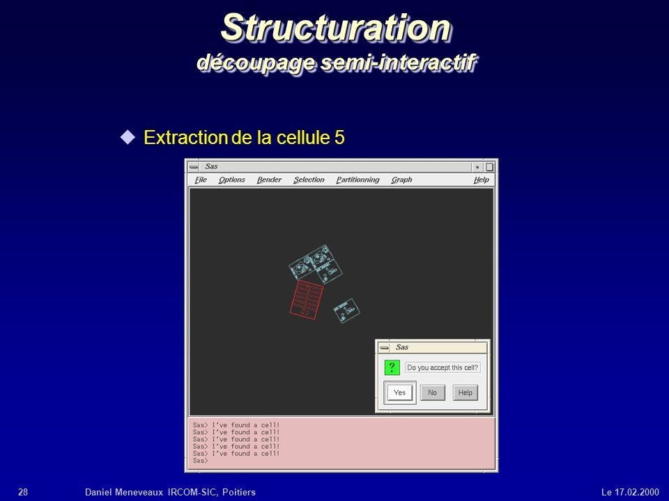 28Daniel Meneveaux IRCOM-SIC, Poitiers Le 17.02.2000 Structuration découpage semi-interactif uExtraction de la cellule 5