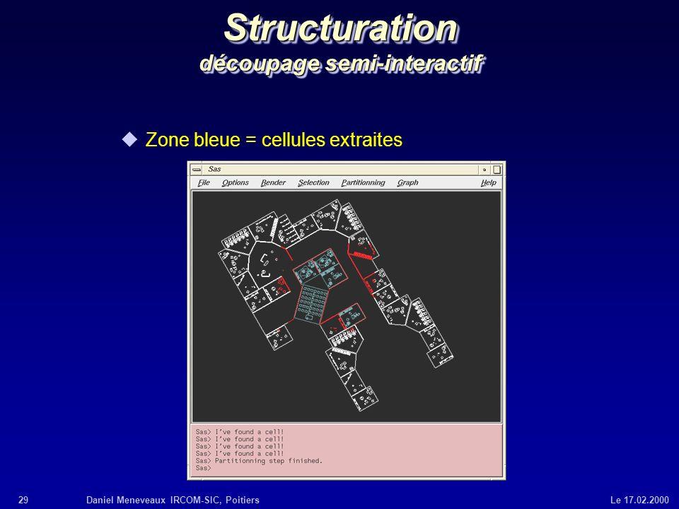 29Daniel Meneveaux IRCOM-SIC, Poitiers Le 17.02.2000 Structuration découpage semi-interactif uZone bleue = cellules extraites