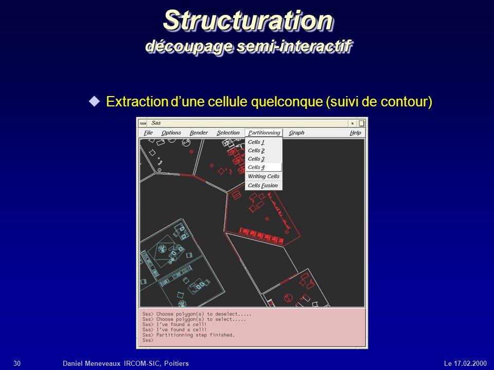 30Daniel Meneveaux IRCOM-SIC, Poitiers Le 17.02.2000 Structuration découpage semi-interactif uExtraction dune cellule quelconque (suivi de contour)