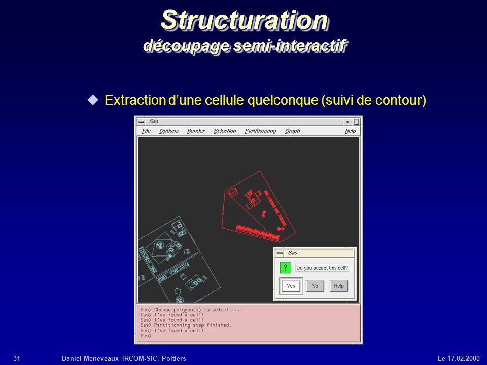 31Daniel Meneveaux IRCOM-SIC, Poitiers Le 17.02.2000 Structuration découpage semi-interactif uExtraction dune cellule quelconque (suivi de contour)