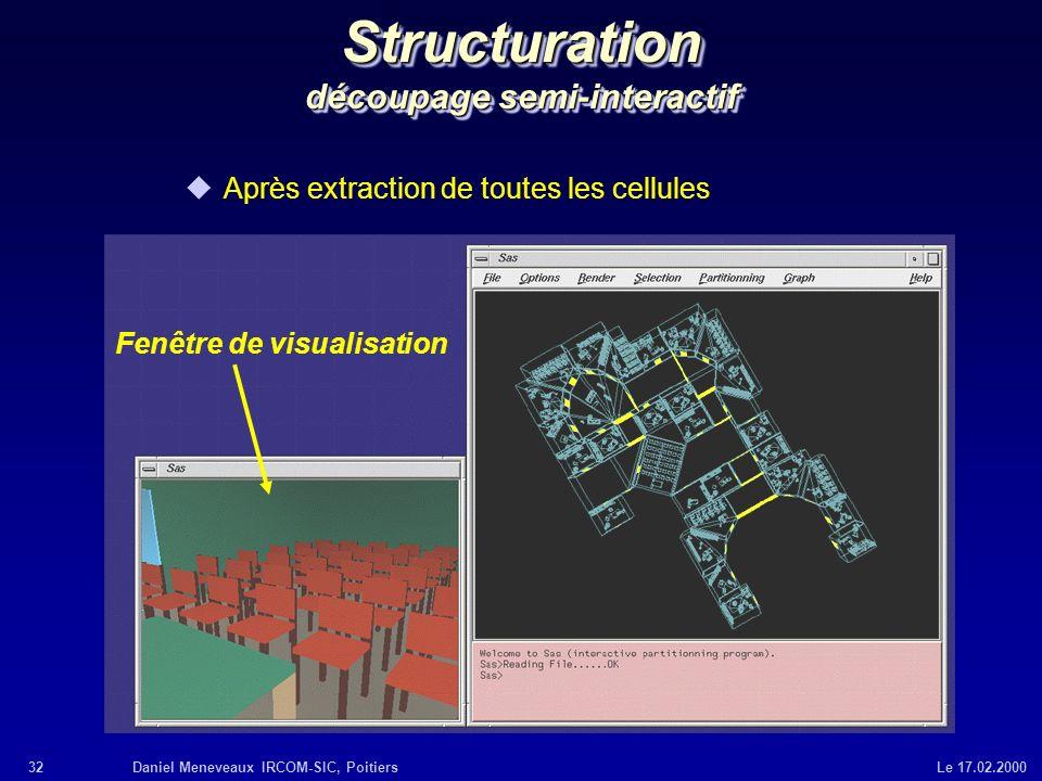 32Daniel Meneveaux IRCOM-SIC, Poitiers Le 17.02.2000 Structuration découpage semi-interactif uAprès extraction de toutes les cellules Fenêtre de visua