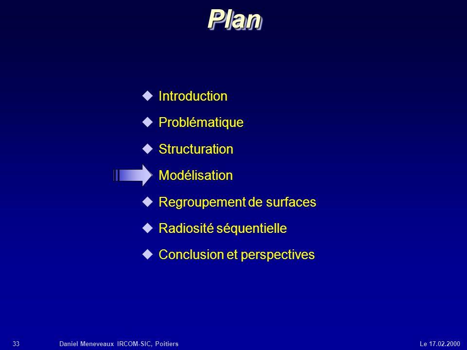 33Daniel Meneveaux IRCOM-SIC, Poitiers Le 17.02.2000 uIntroduction uProblématique uStructuration uModélisation uRegroupement de surfaces uRadiosité sé