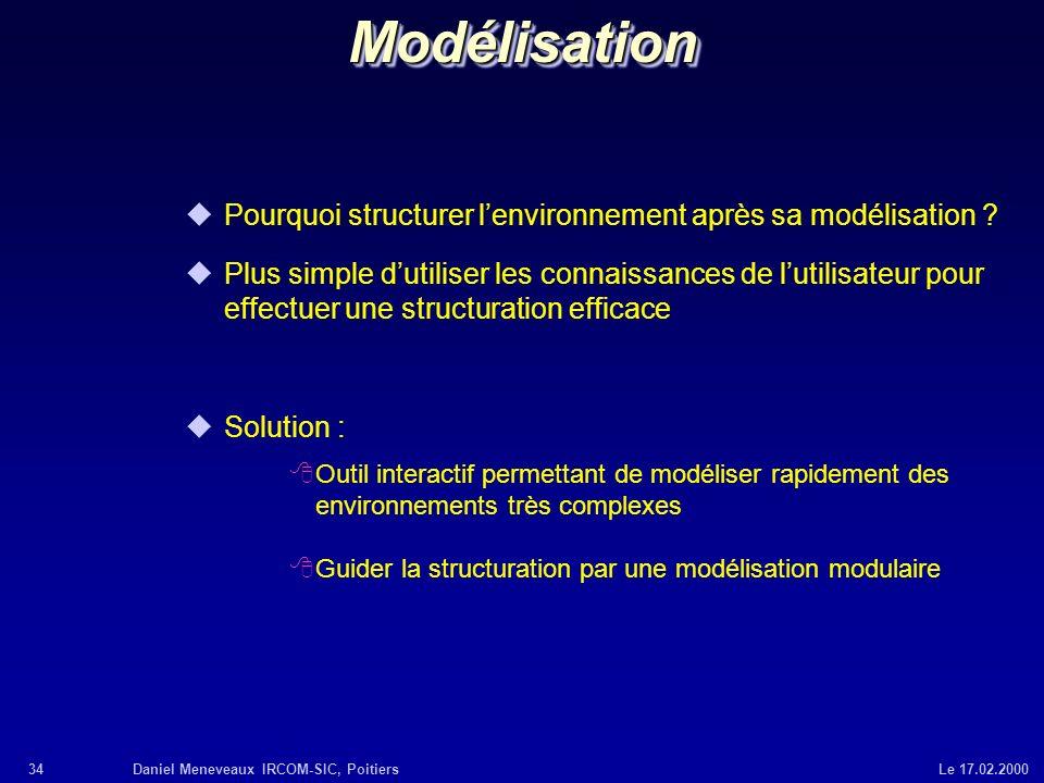 34Daniel Meneveaux IRCOM-SIC, Poitiers Le 17.02.2000ModélisationModélisation uPourquoi structurer lenvironnement après sa modélisation ? uPlus simple