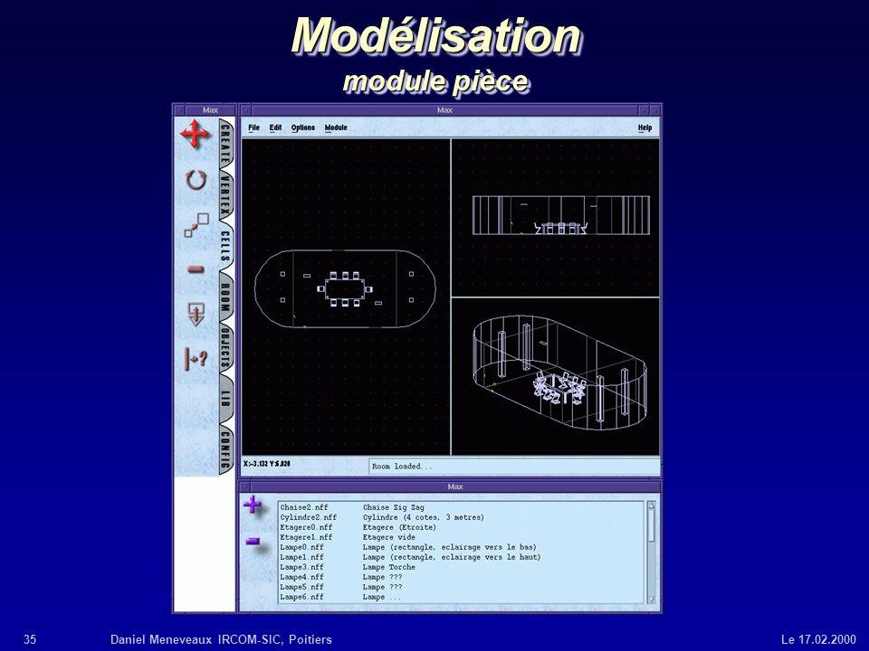 35Daniel Meneveaux IRCOM-SIC, Poitiers Le 17.02.2000 Modélisation module pièce