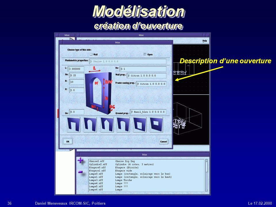 36Daniel Meneveaux IRCOM-SIC, Poitiers Le 17.02.2000 Modélisation création douverture Description dune ouverture