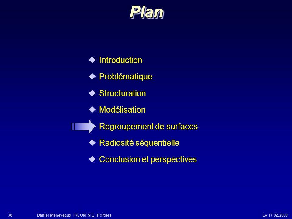 38Daniel Meneveaux IRCOM-SIC, Poitiers Le 17.02.2000 uIntroduction uProblématique uStructuration uModélisation uRegroupement de surfaces uRadiosité sé